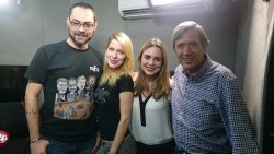 Com os jornalistas Leonardo Muller, Rachel Sheherazade e Marco Antonio Villa